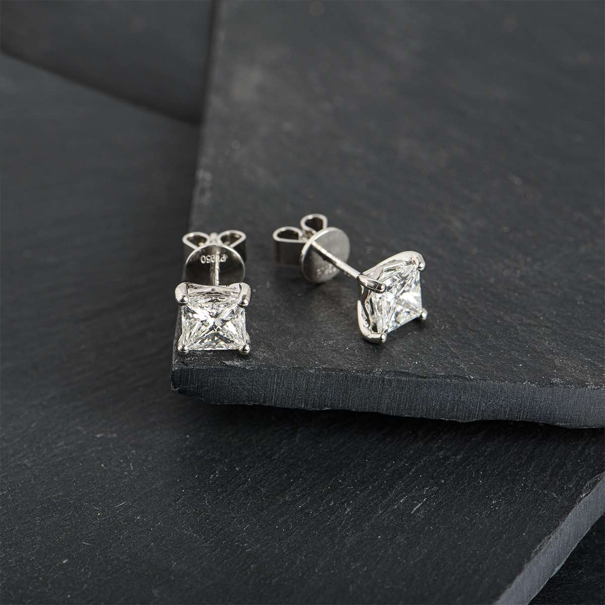 Platinum Princess Cut Diamond Earrings 2.40ct TDW